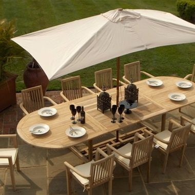 Atlanta Stacking Chair 3.0mtr Oval Extension Set , inc 3.0 mtr Parasol & Cushions