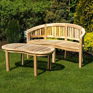 Solid Teak Balmoral Curved Classic Bench Set